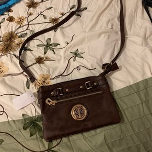 Brown and gold crossbody